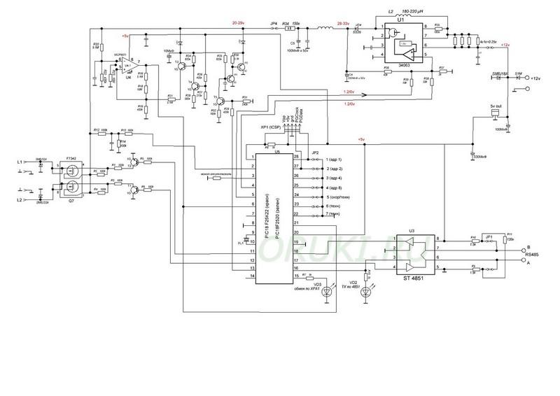 Принципиальная электроическая схема модуля МАШ XPA
