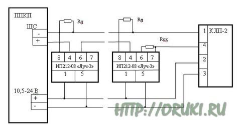 Схема подключения Луч-3 как активный датчик
