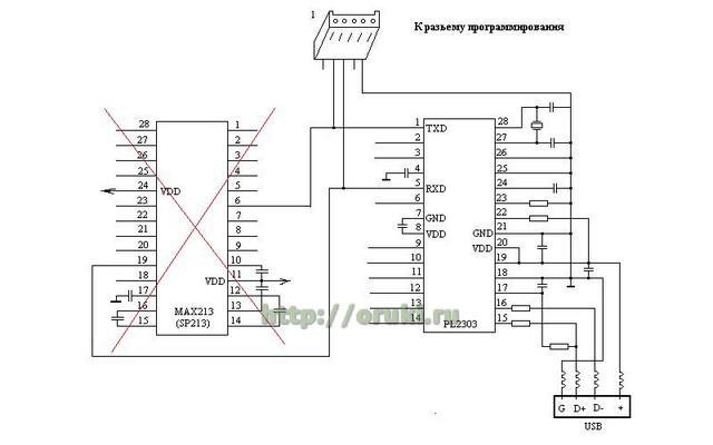 К выводам микросхемы PL2303 припаиваем не длинный (до 0.5м) шлейф с пятиконтактным разъемом на конце.