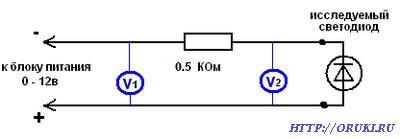 Определение номинального напряжения неизвестного светодиода