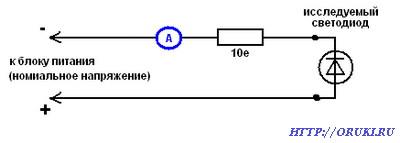 Определение номинального тока неизвестного светодиода