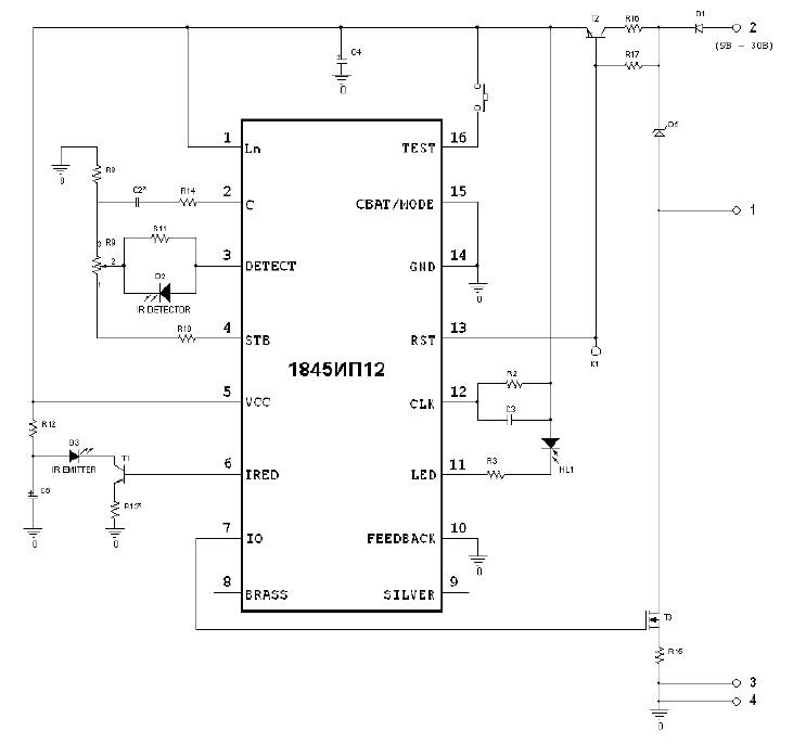 Принципиальная схема пожарного датчика на микросхеме 1845ИП12