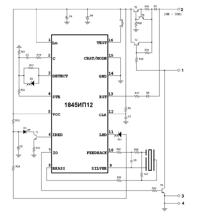 Принципиальная схема пожарного датчика на 1845ИП12